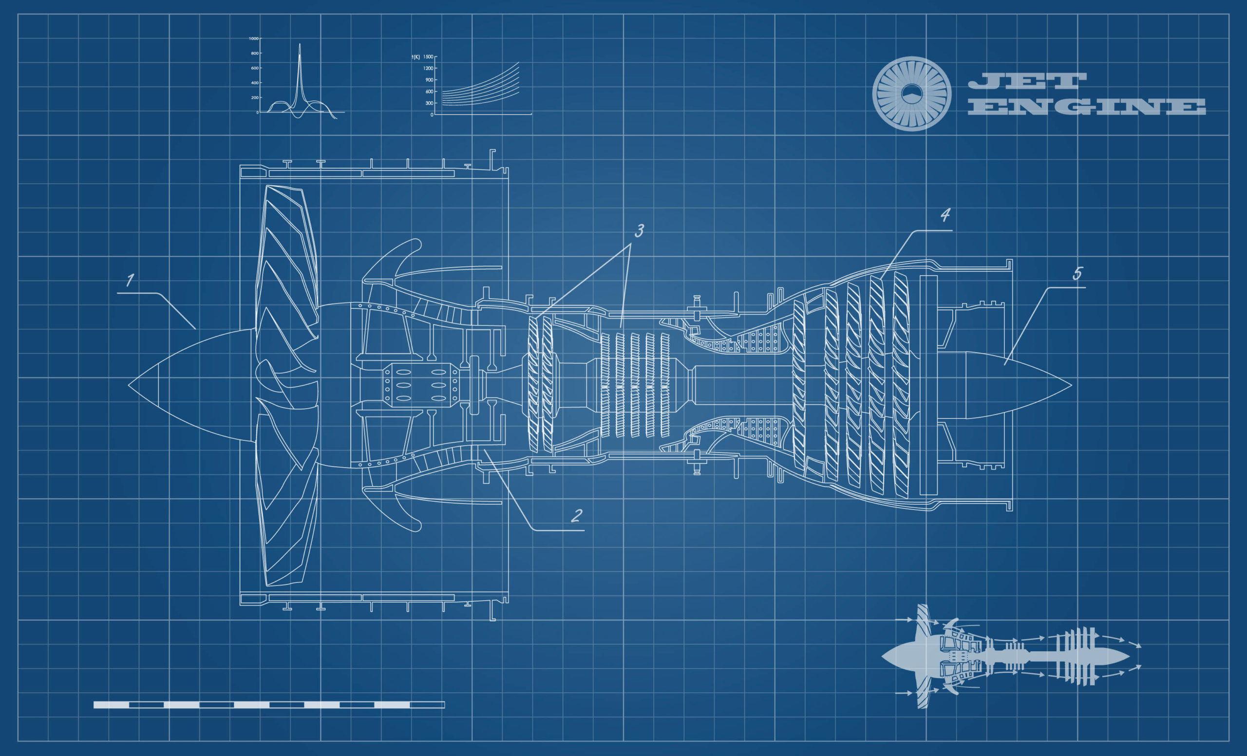 Jet,Engine,Of,Airplane,In,Outline,Style.,Industrial,Aerospase,Blueprint.